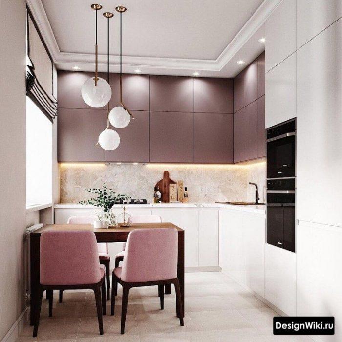 грязно розовый в интерьере кухни
