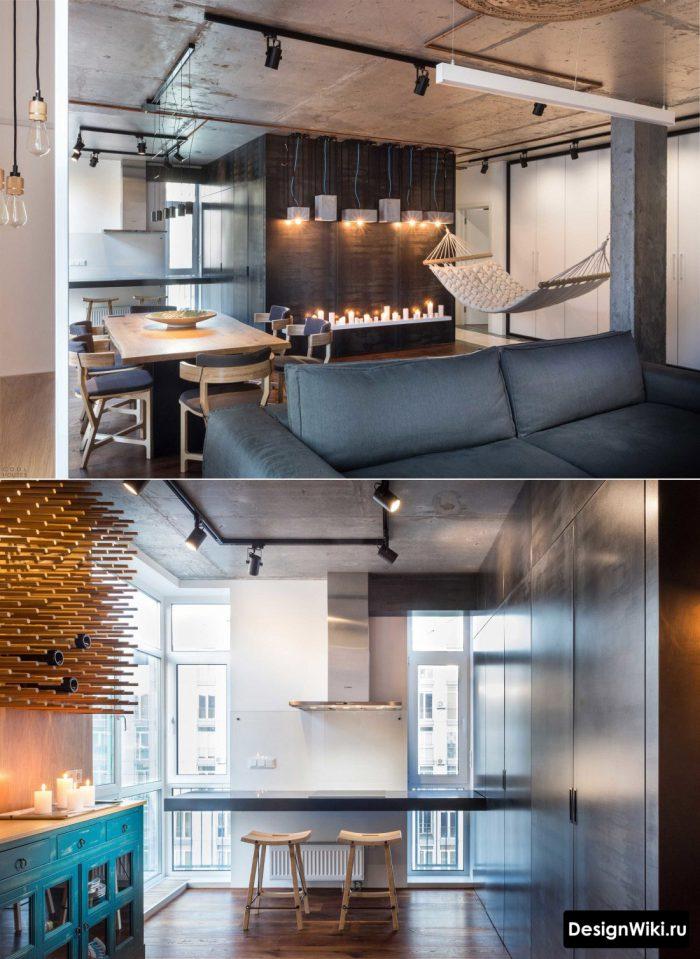 дизайн бетонного потолка в квартире