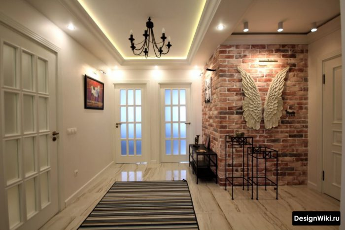 дизайн двухуровнего потолока с подсветкой