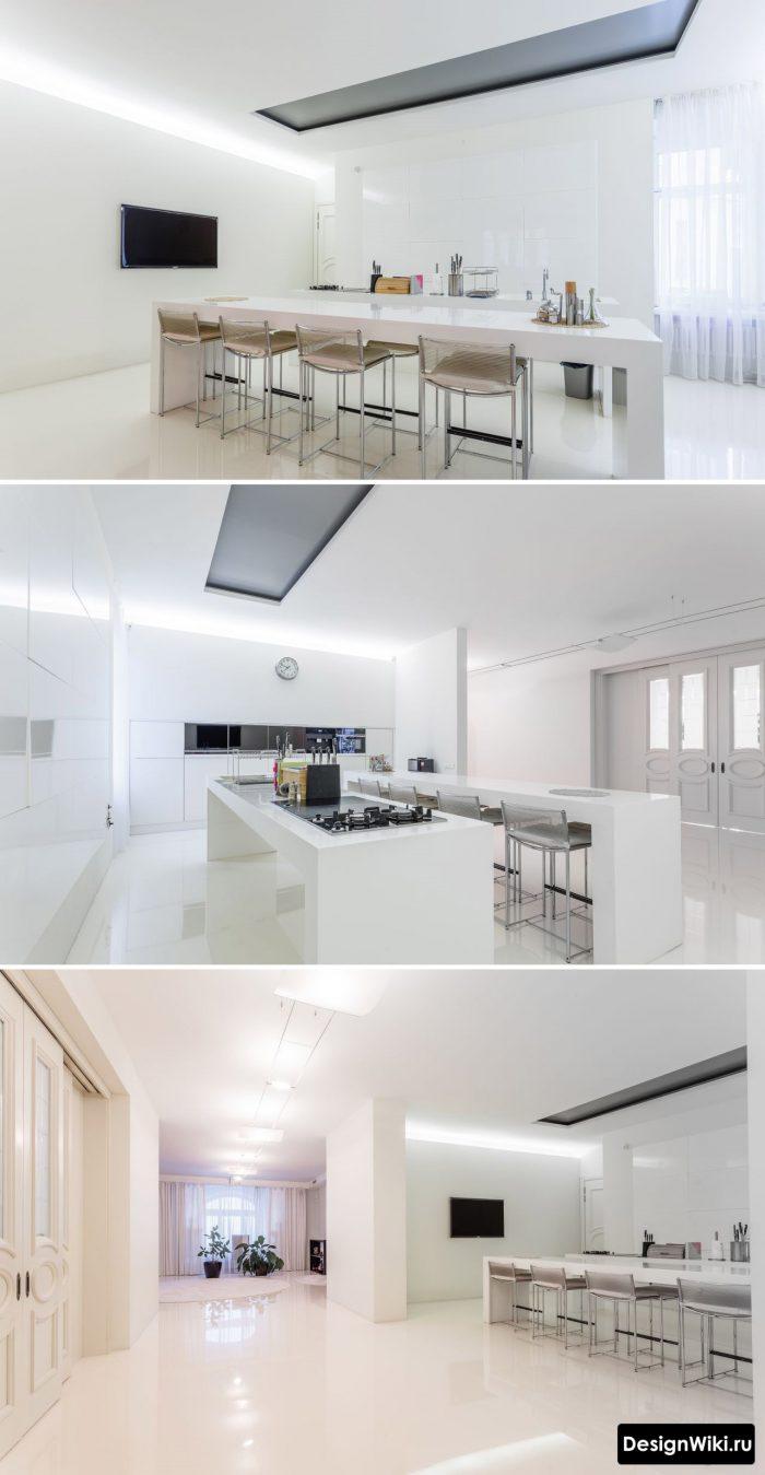дизайн потолка с нишей в кухне гостиной