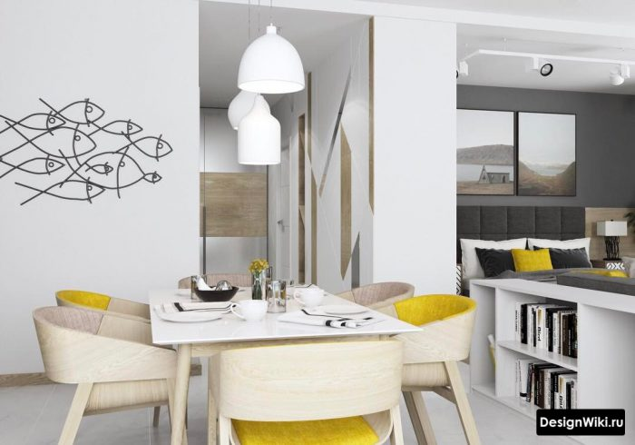 желтый цвет в интерьере квартиры студии