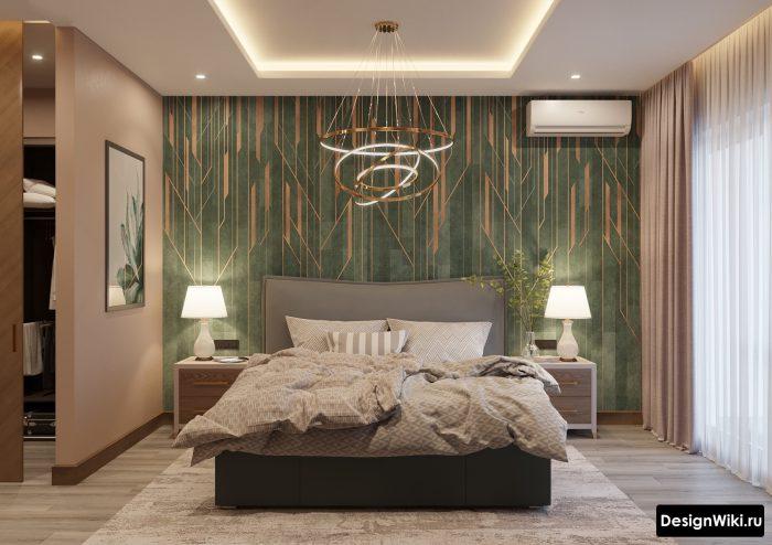 зеленый и золотый в интерьере спальни