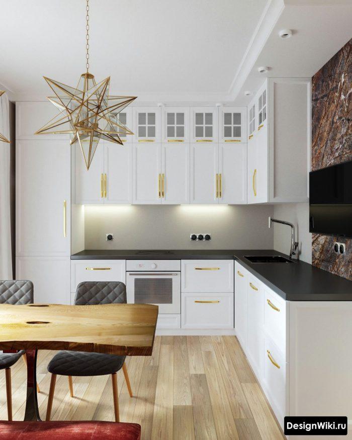 золотой цвет в белой кухне