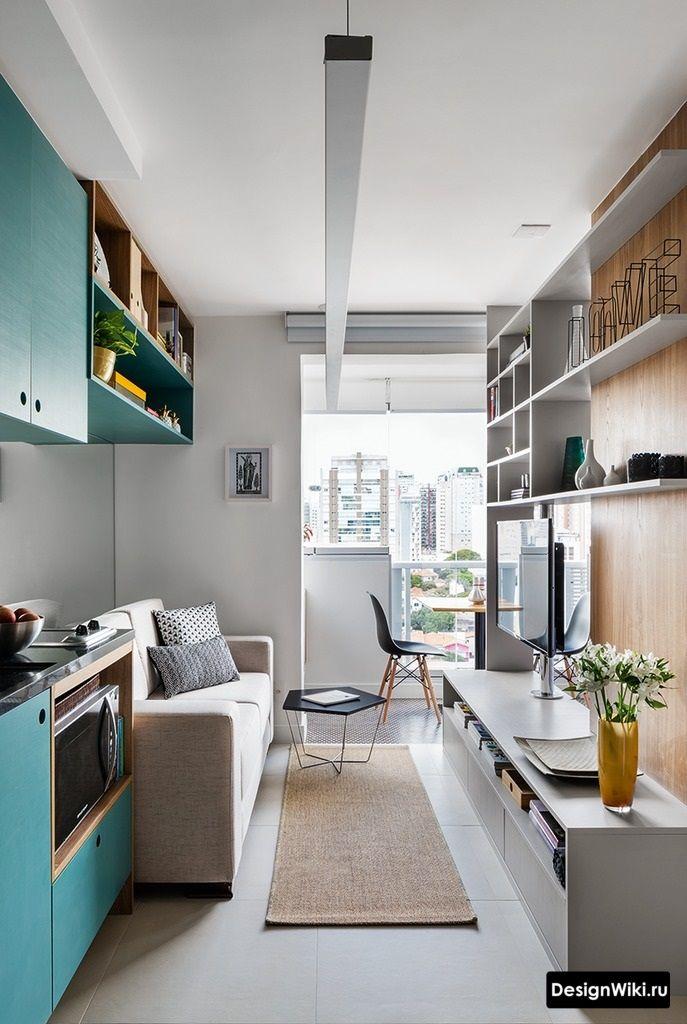 квартира студия с голубой кухней
