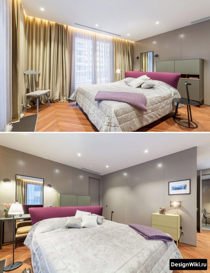 минималистичный дизайн потолка в спальне