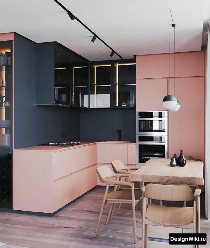 розовый цвет в интерьере кухни