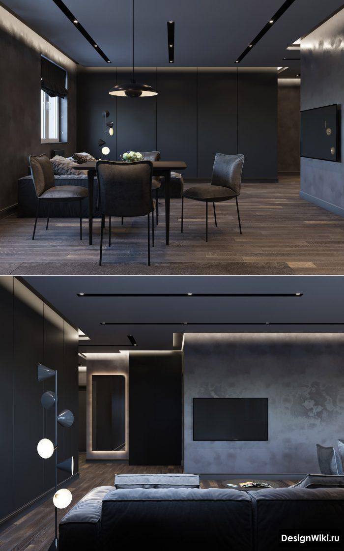 серый потолок с подсветкой в стиле лофт