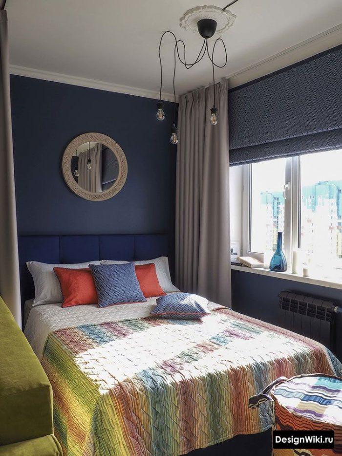 синий желтый оранжевый и красный в интерьере спальни