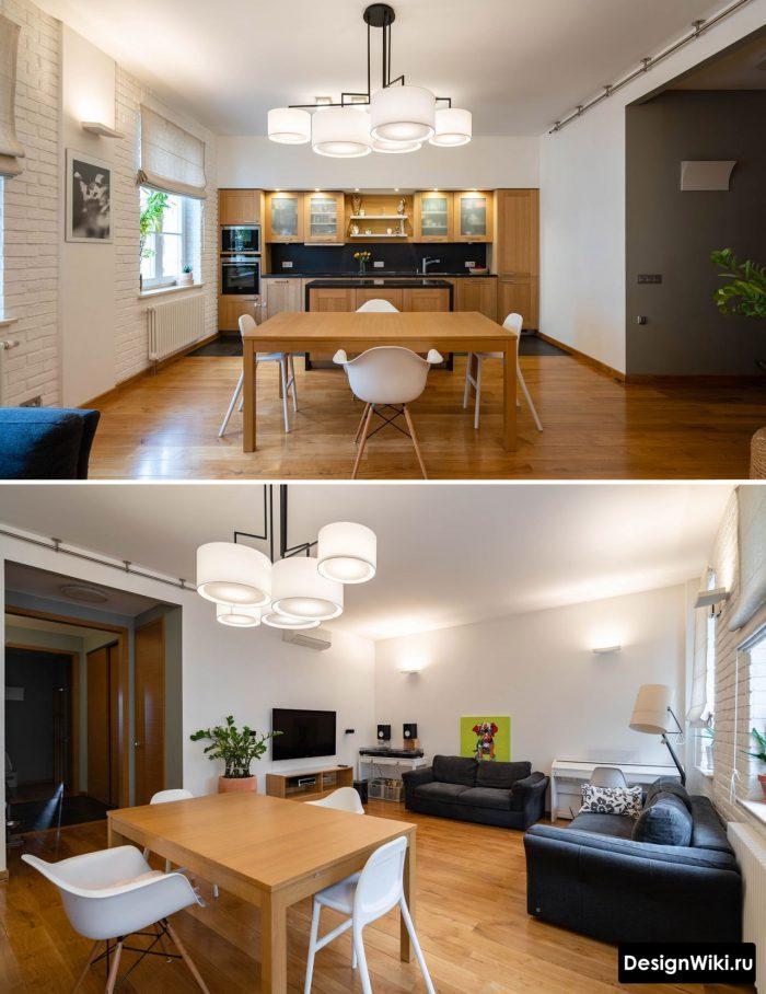современный дизайн потолка с люстрой