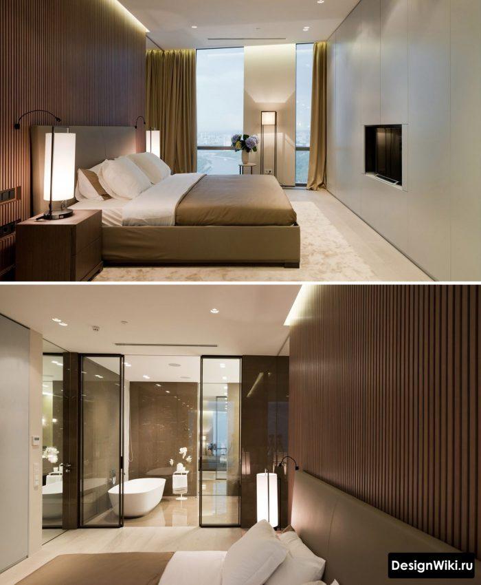 современный дизайн потолка с подсветкой в спальне