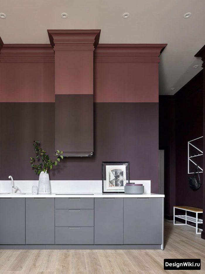 сочетание бордового и фиолетового в интерьере кухни