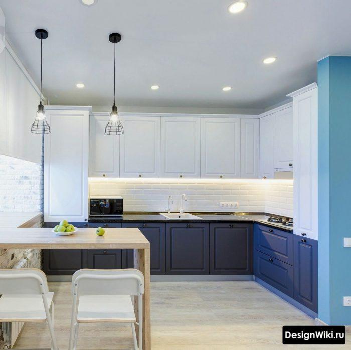 сочетание голубого и синего в интерьере кухни