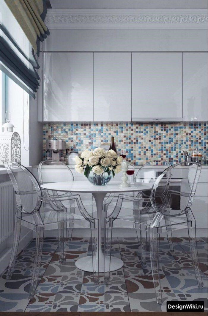 сочетание пастельных цветов в интерьере кухни
