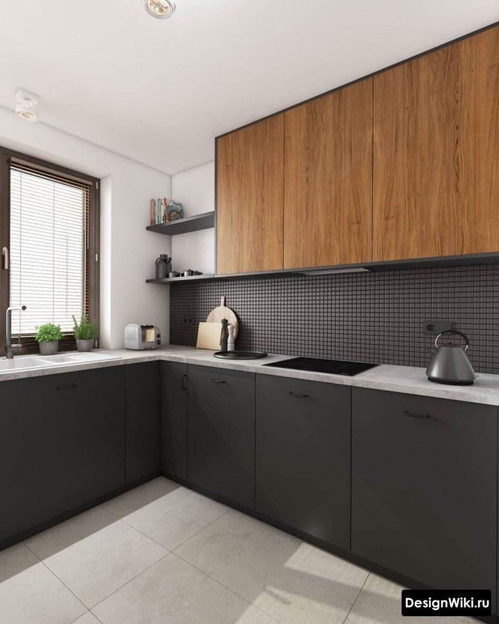 сочетание серого и дерева в современной кухне