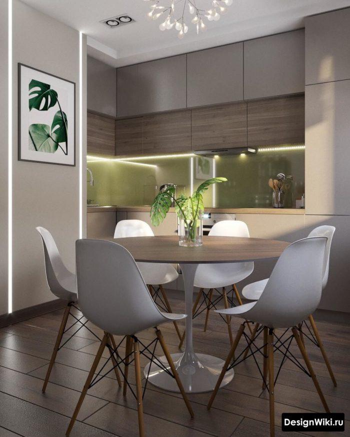 сочетание серого и зеленого в интерьере кухни