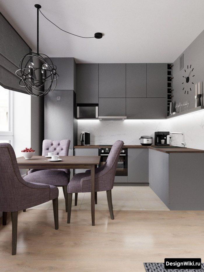 сочетание серого и сиреневого в интерьере кухни