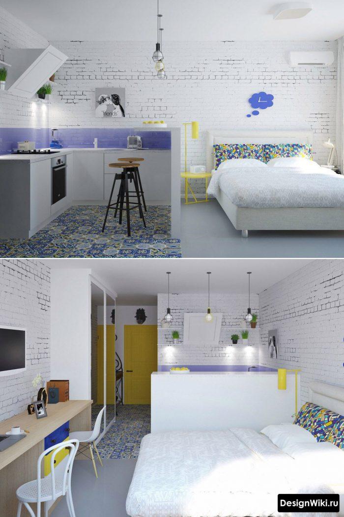 сочетание синего и желтого в маленькой квартире студии