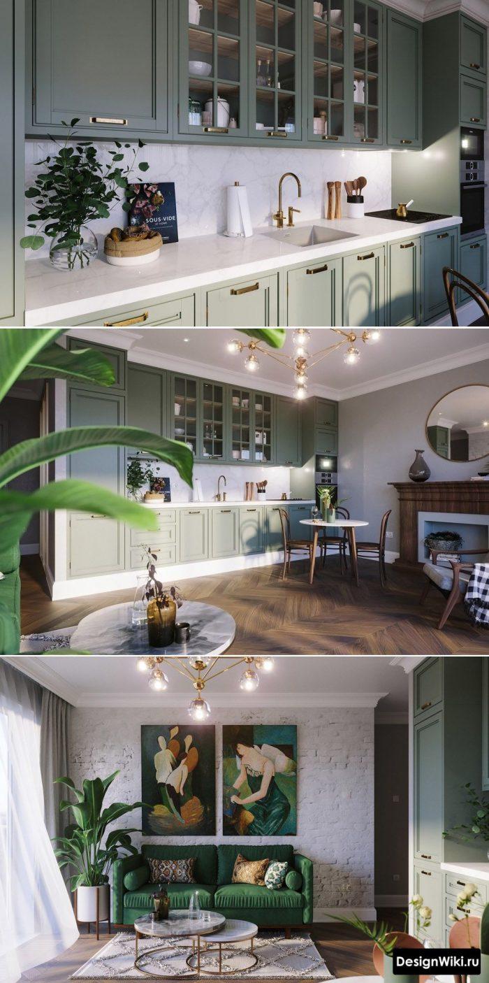 сочетание с зеленым цветом в интерьере