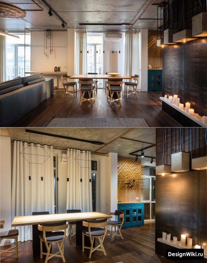 сочетание черного дерева и бетона в интерьере в стиле лофт