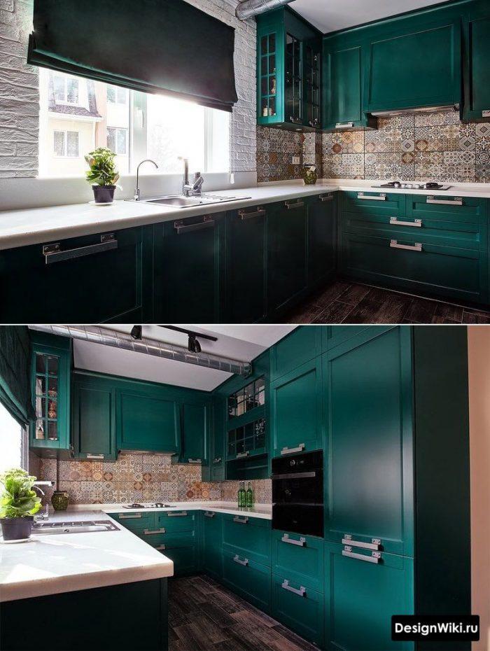 темно зеленый в интерьере кухни
