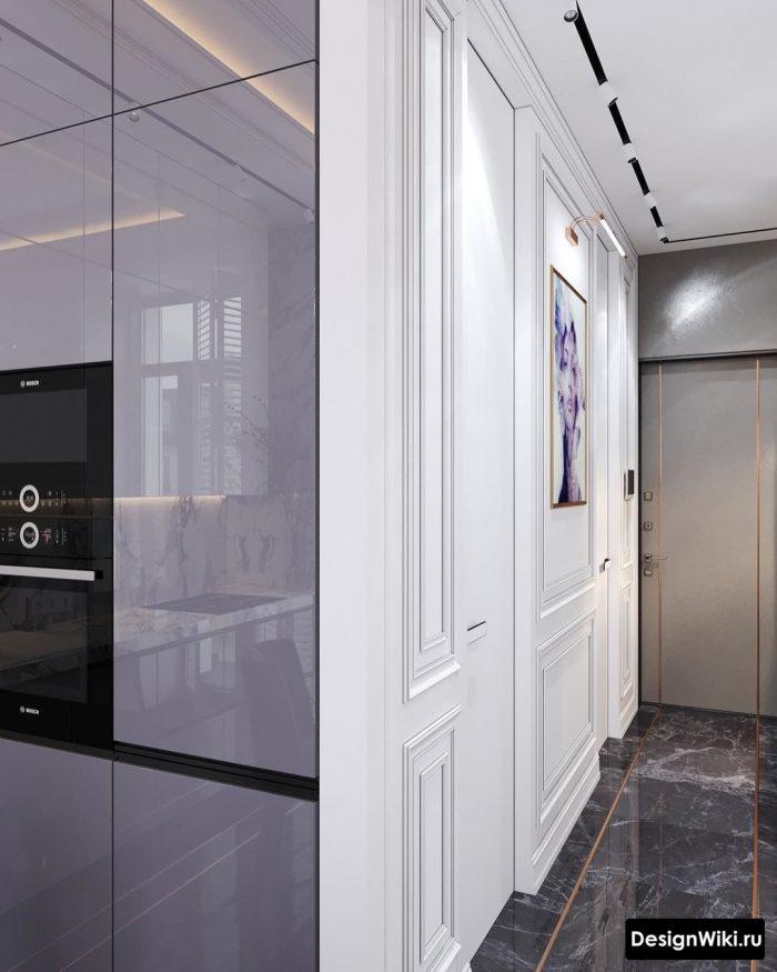 холодный сервый глянец в интерьере кухни