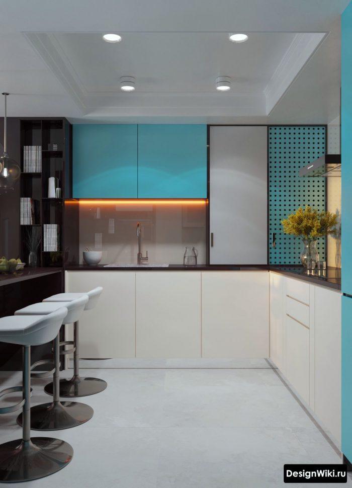 яркий голубой в интерьере кухни