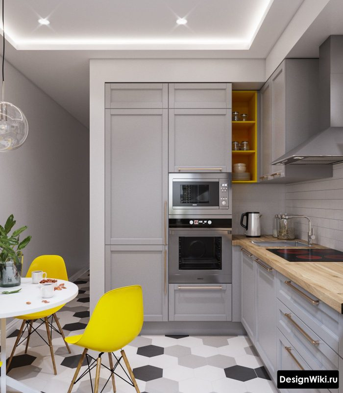 ярко желтый в интерьере кухни