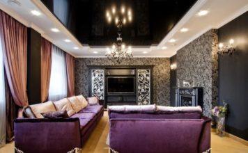 Гостиная в стиле арт-деко с фиолетовая