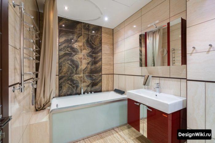 Бежевый кафель в ванной
