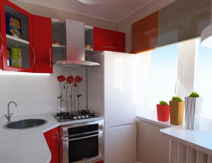 Бело-красная кухня в хрущевке
