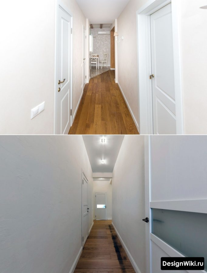 Белые крашенные стены и паркет в дизайне коридора #дизайнинтерьера #прихожая