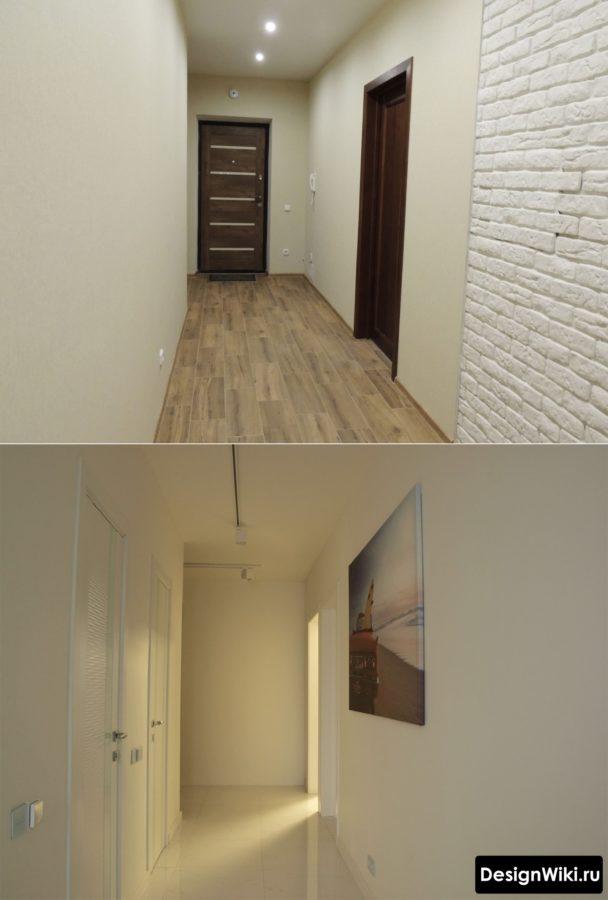 Белый декоративный камень на стенах в коридоре