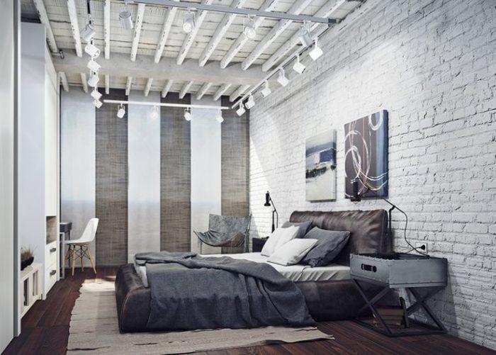 Белый кирпич в современной спальне