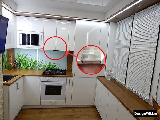 Встроенная вытяжка как идея для маленькой кухни