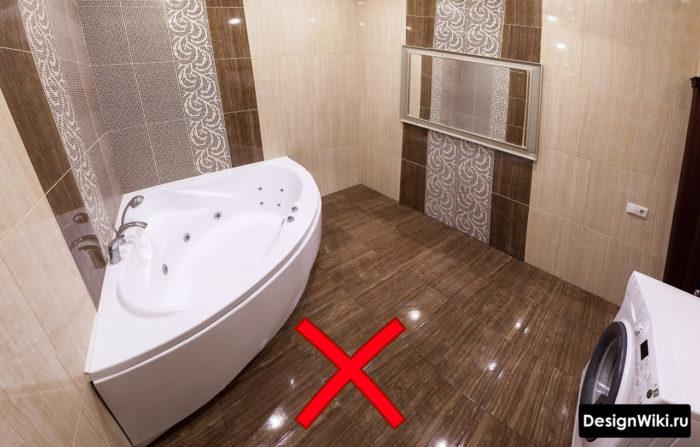 Глянцевый коричневый кафель для ванной
