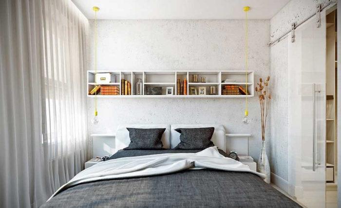 Декоративная штукатурка под бетон в маленькой спальне