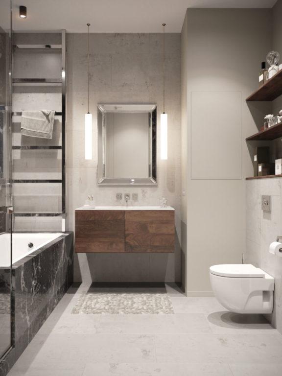 Дизайн ванной комнаты совмещенной с туалетом 5 кв.м