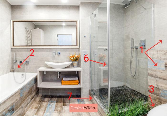 Дизайн ванных комнат совмещенных с туалетом правила #дизайнинтерьера #ванная