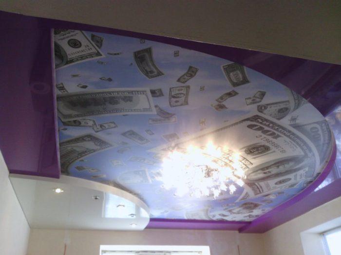 Дизайн дорогого натяжного потолка