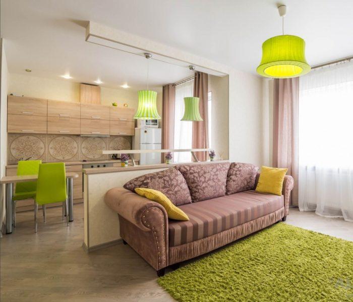 Дизайн квартиры студии в эко стиле