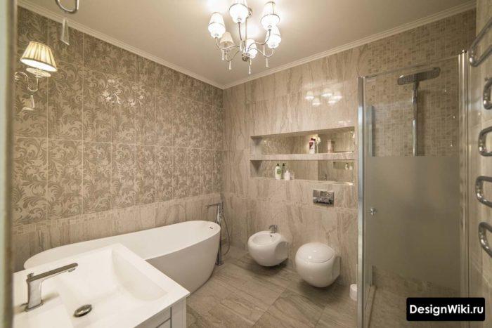 Дизайн комнаты с ванной и душем
