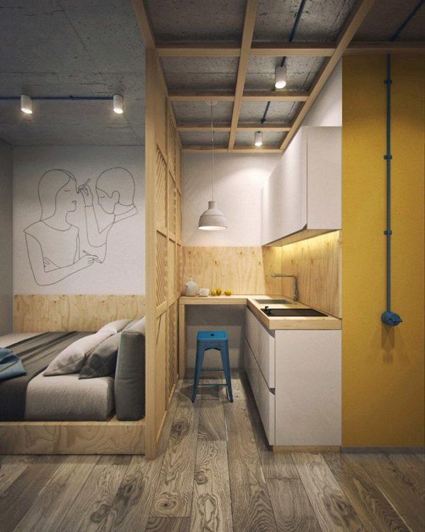 Дизайн маленького встроенного кухонного гарнитура