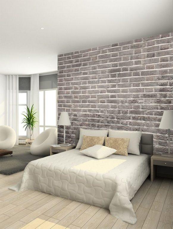Дизайн спальни с обоями под серый кирпич