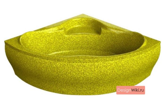Золотая композитная угловая ванна 150-150