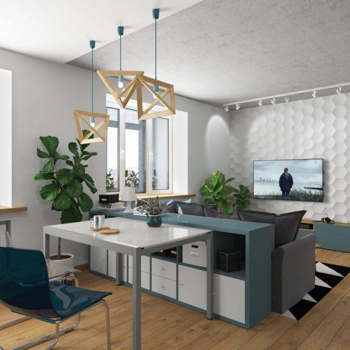 Идея зонирования квартиры студии