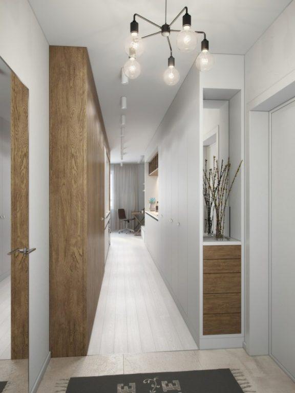 Идея расположения зеркала в дизайне коридора