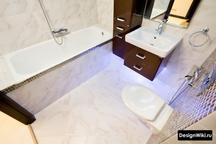 Интерьер ванной комнаты совмещенной с туалетом минимализм