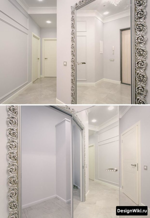 Интерьер коридора в классическом стиле в светлых тонах