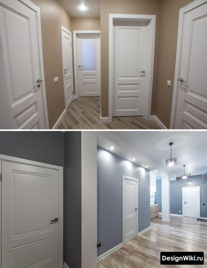 Коричневые и серые стены в коридоре