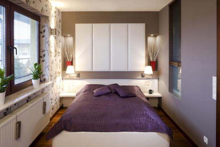 Кофейный цвет стен в спальне